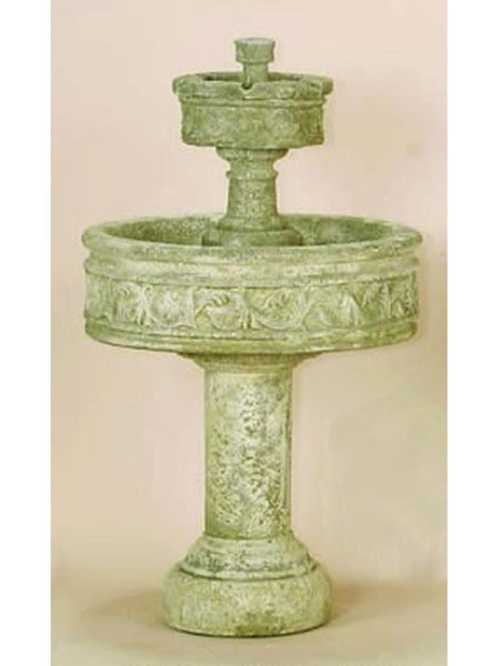 Paestum Two Tier Outdoor Water Fountain with Tall Base