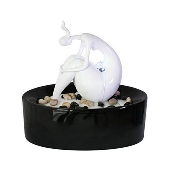 Sitting Sculpted Figure Tabletop Fountain