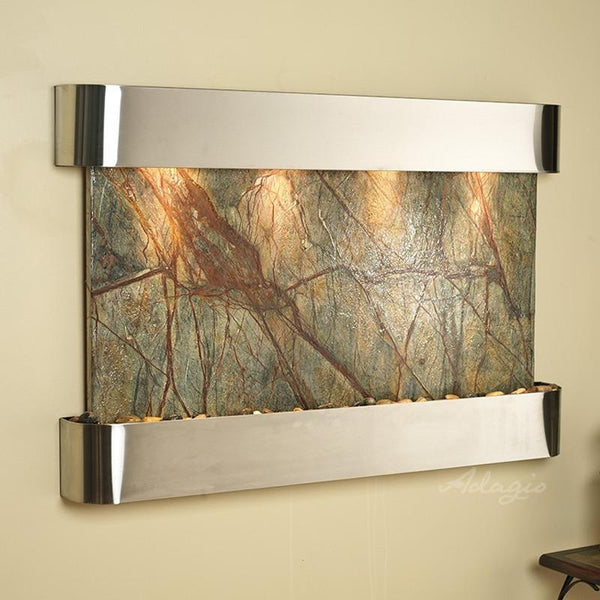 Sunrise Springs Wall Fountain with Rainforest Green Marble and Stainless Steel Trim
