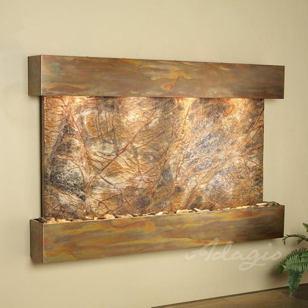 Sunrise Springs Wall Fountain with Rainforest Brown Marble and Rustic Copper Trim
