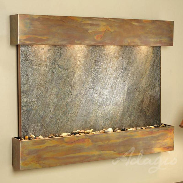 Sunrise Springs Wall Fountain with Rustic Copper Metal and Green Featherstone Slate