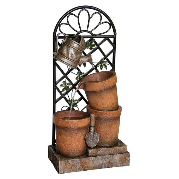 Three Flower Pots And Garden Tools Fountain