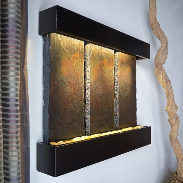 Triptych Falls Lightweight Slate Fountain, Copper Vein Trim