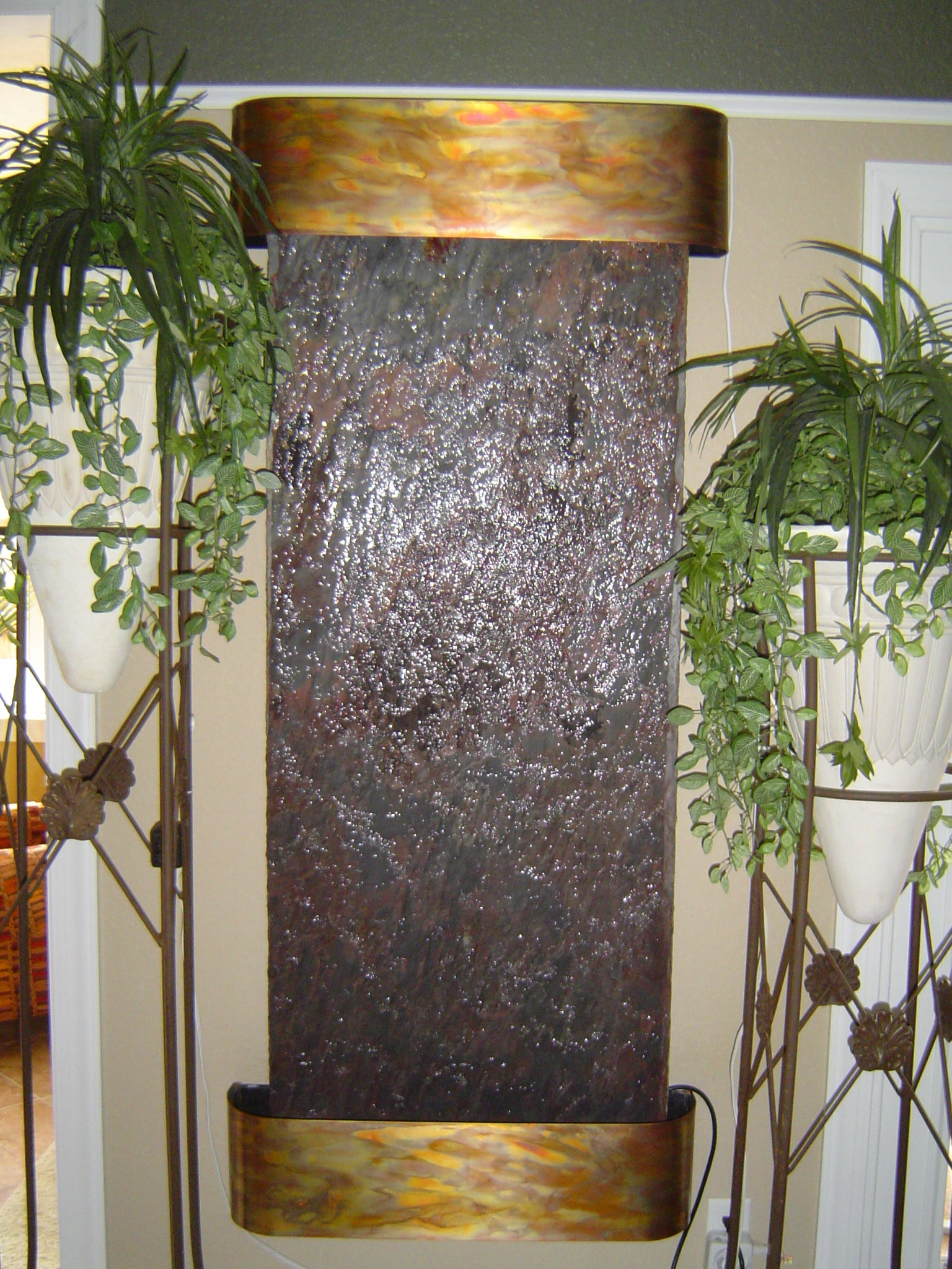 Inspiration Falls Wall Fountain with Rajah Slate and Copper Trim