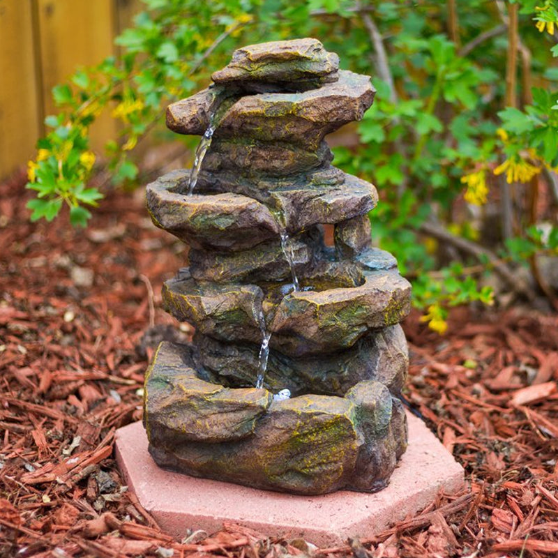 "16"" Emerald Pools 4-Tier Waterfall Rock Fountain with LED Lights - SoothingWalls"