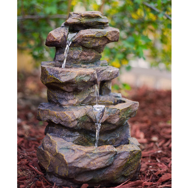"16"" Emerald Pools 4-Tier Waterfall Rock Fountain with LED Lights- Soothing Walls"