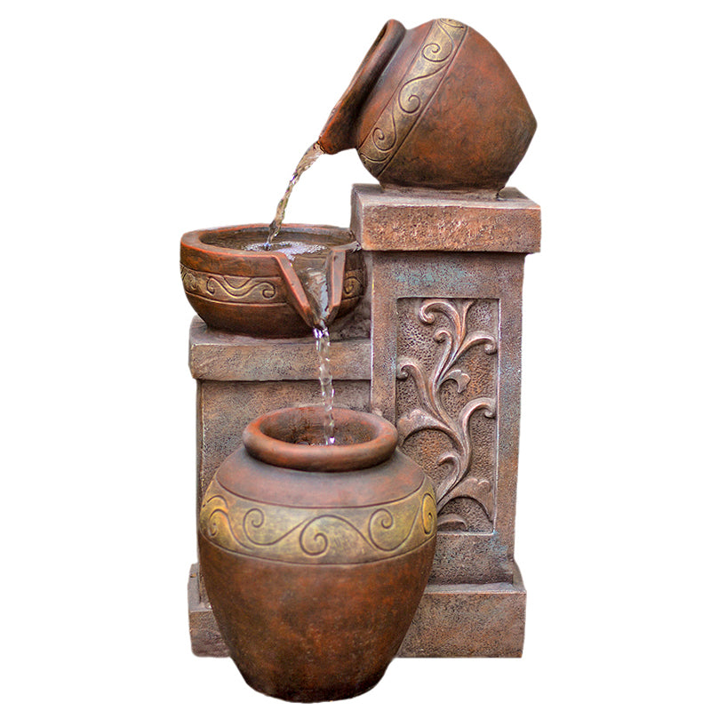 "17"" Photina Terracotta Bowl Fountain with LED Lights - SoothingWalls"
