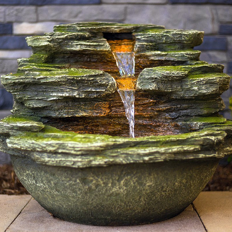 "18"" Multnomah Waterfall Rock Fountain with LED Lights - SoothingWalls"
