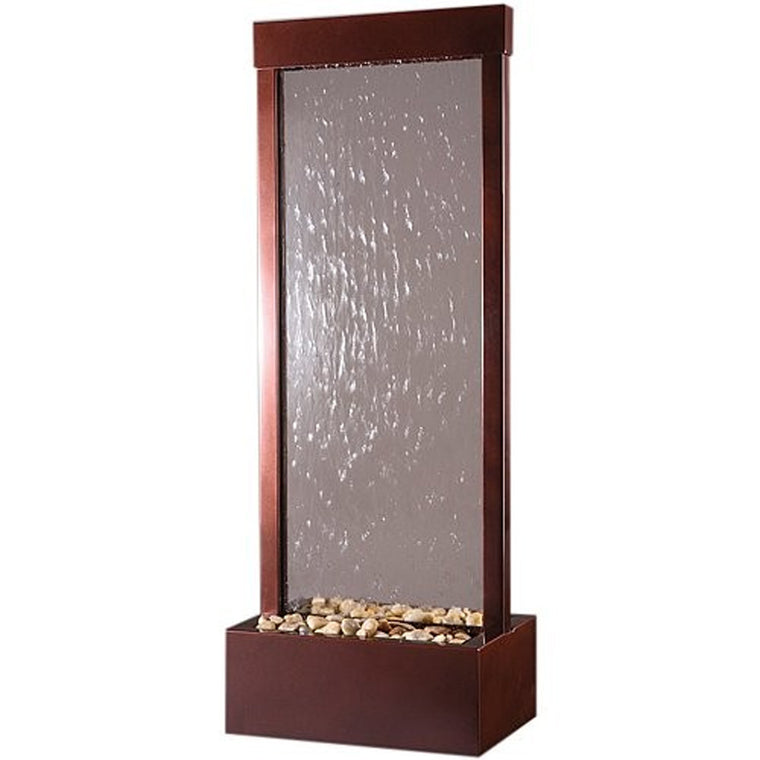 4' Dark Copper Gardenfall w/ Clear Glass Floor Fountain - Soothing Walls