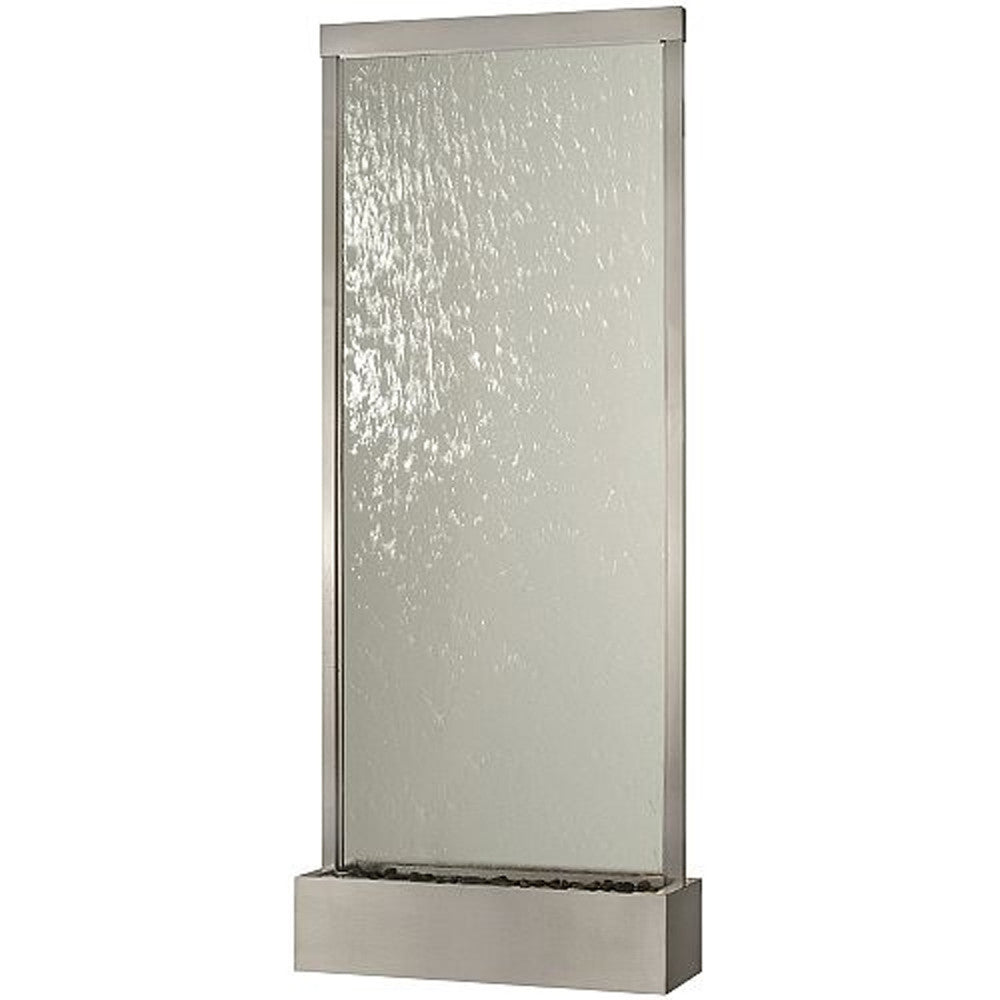 Grande Brushed Stainless Steel and Clear Glass Floor Fountain - Soothing Walls