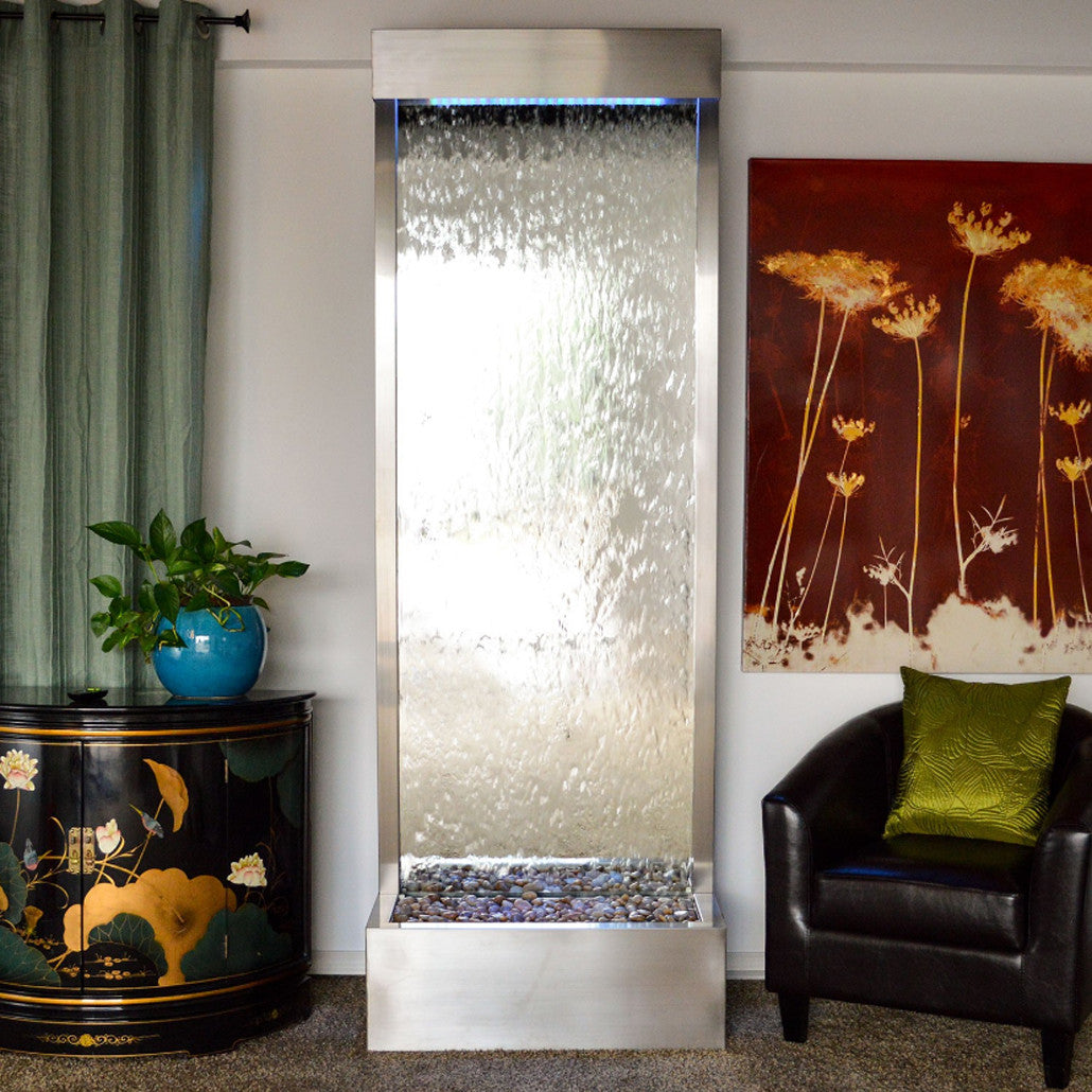 7.5' Gardenfall Silver Mirror and Brushed Stainless Steel Floor Fountain With LED Lights - SoothingWalls