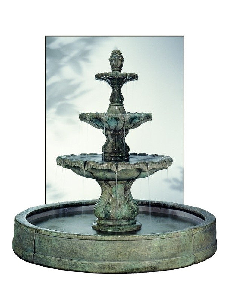 Classical Finial Outdoor Fountain in Valencia Pool - SoothingWalls
