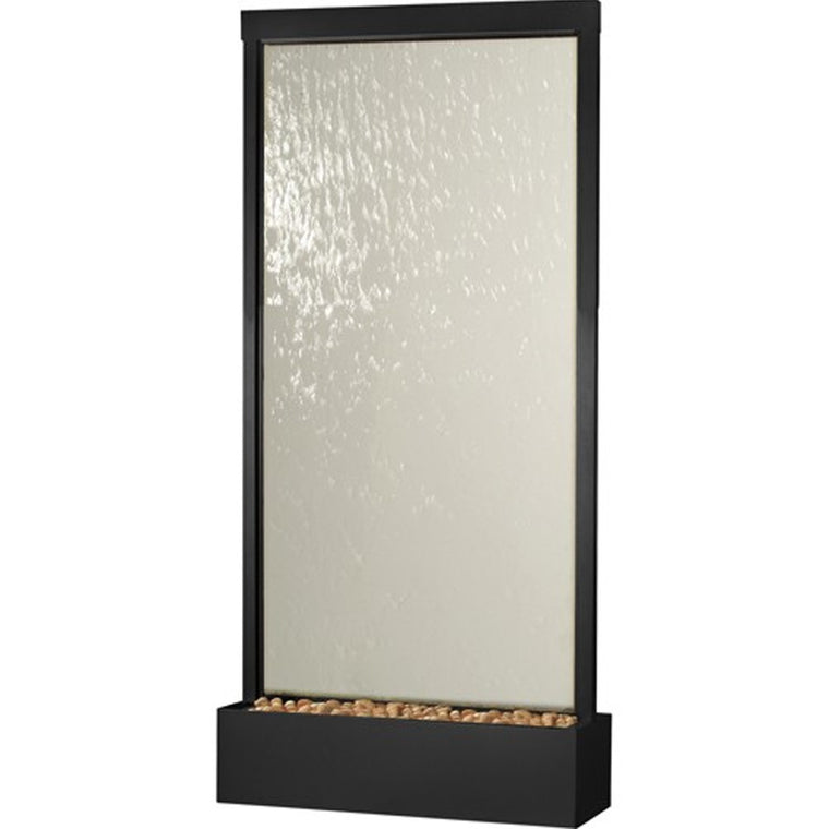 8' Grande Black Onyx and Clear Glass Floor Fountain - Soothing Walls