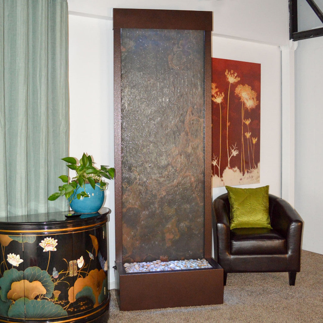 7.5' Gardenfall Slate Tech and Dark Copper Floor Fountain with LED Lights - Soothing Walls