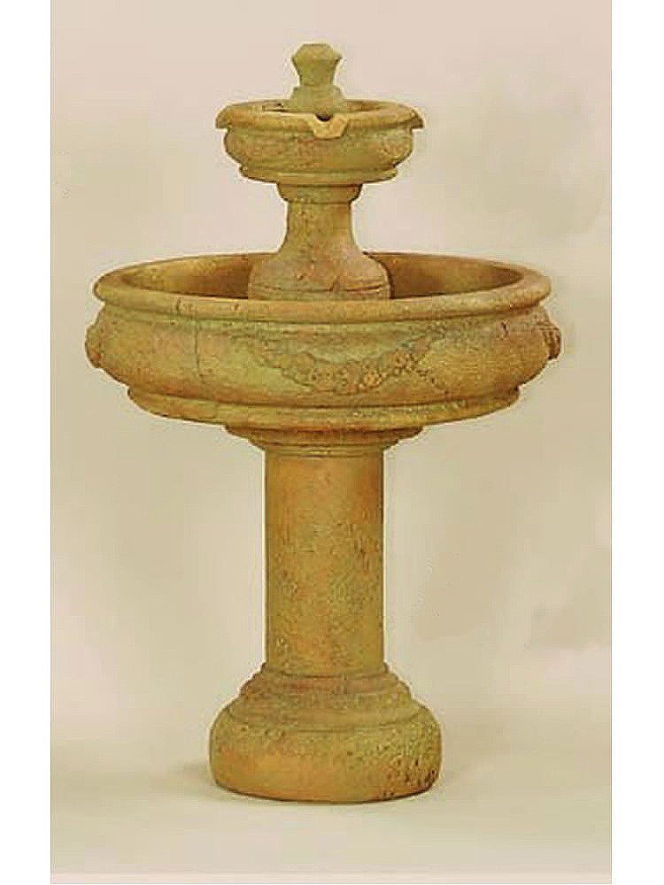 Rosa Two Tier Outdoor Water Fountain with Tall Base - Soothing Walls