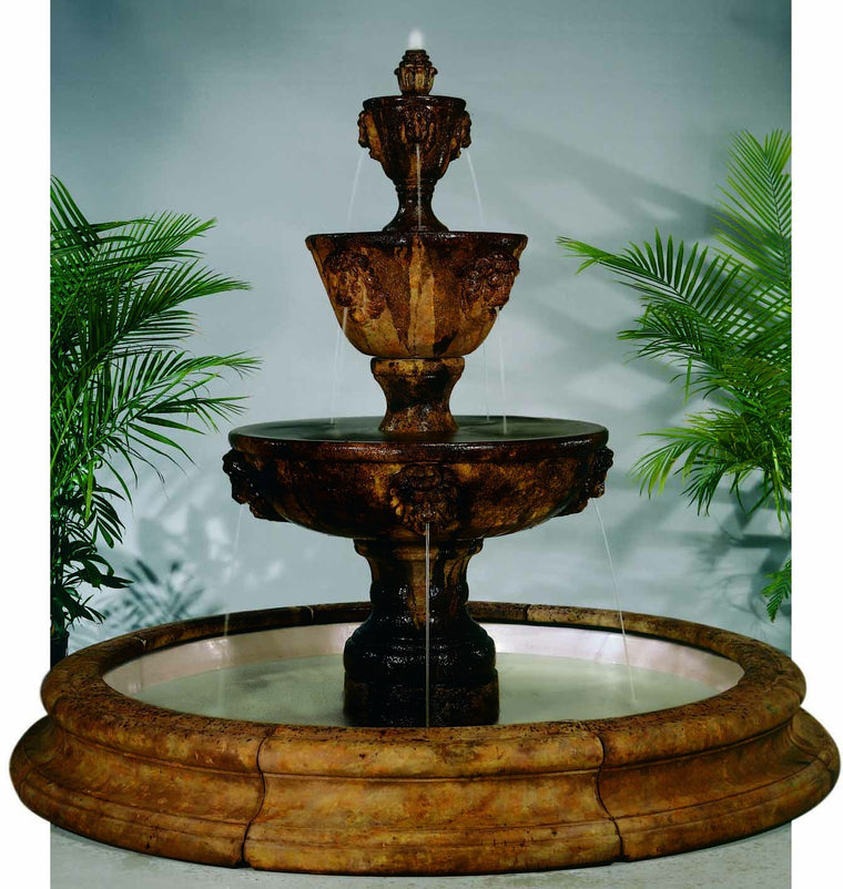 Three-Tier Leonesco in Toscana Pool Outdoor Water Fountain - Soothing Walls