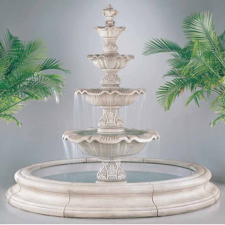 Four Tier Renaissance Fountain in Toscana Pool - Soothing Walls
