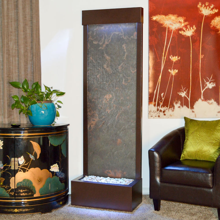 6' Gardenfall Slate Tech and Dark Copper Floor Fountain with LED Lights - Soothing Walls