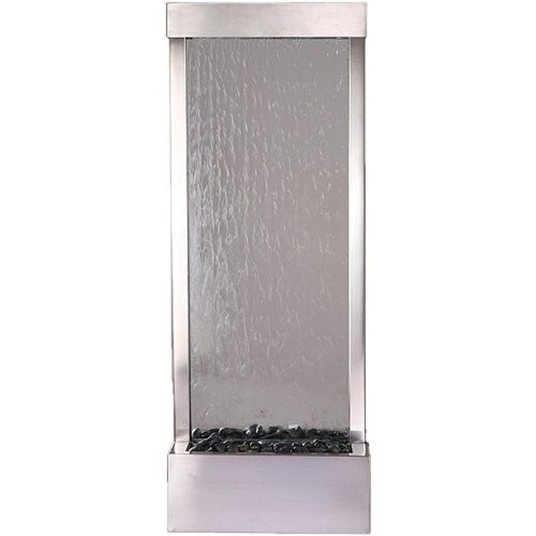 4' Stainless Steel Gardenfall With Clear Glass Floor Fountain - Soothing Walls