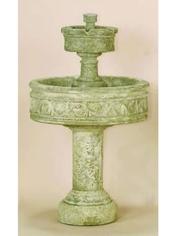 Paestum Two Tier Outdoor Water Fountain with Tall Base - Soothing Walls