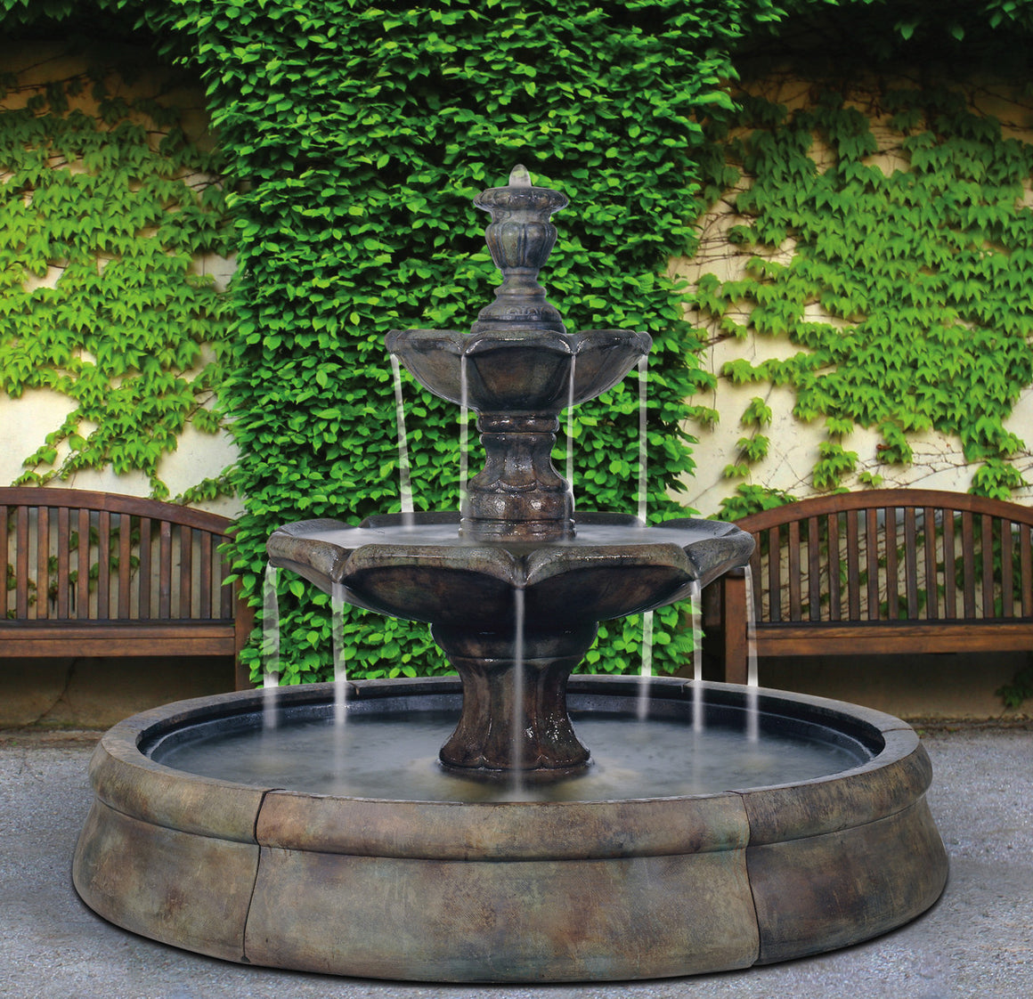 Finial Spill Outdoor Water Fountain in Crested Pool - Soothing Walls
