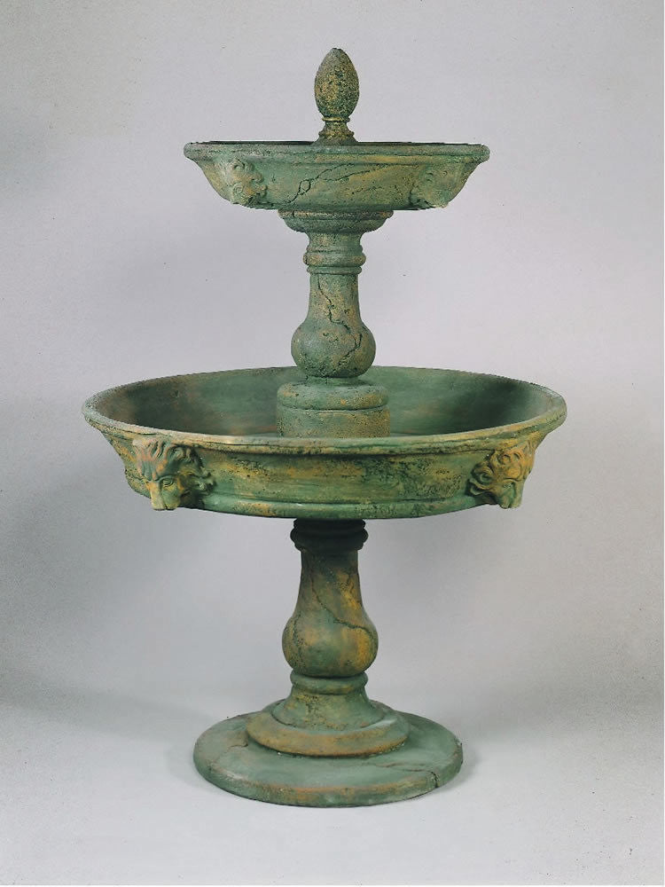 Appia Antica Two Tier Lion Outdoor Water Fountain - Soothing Walls