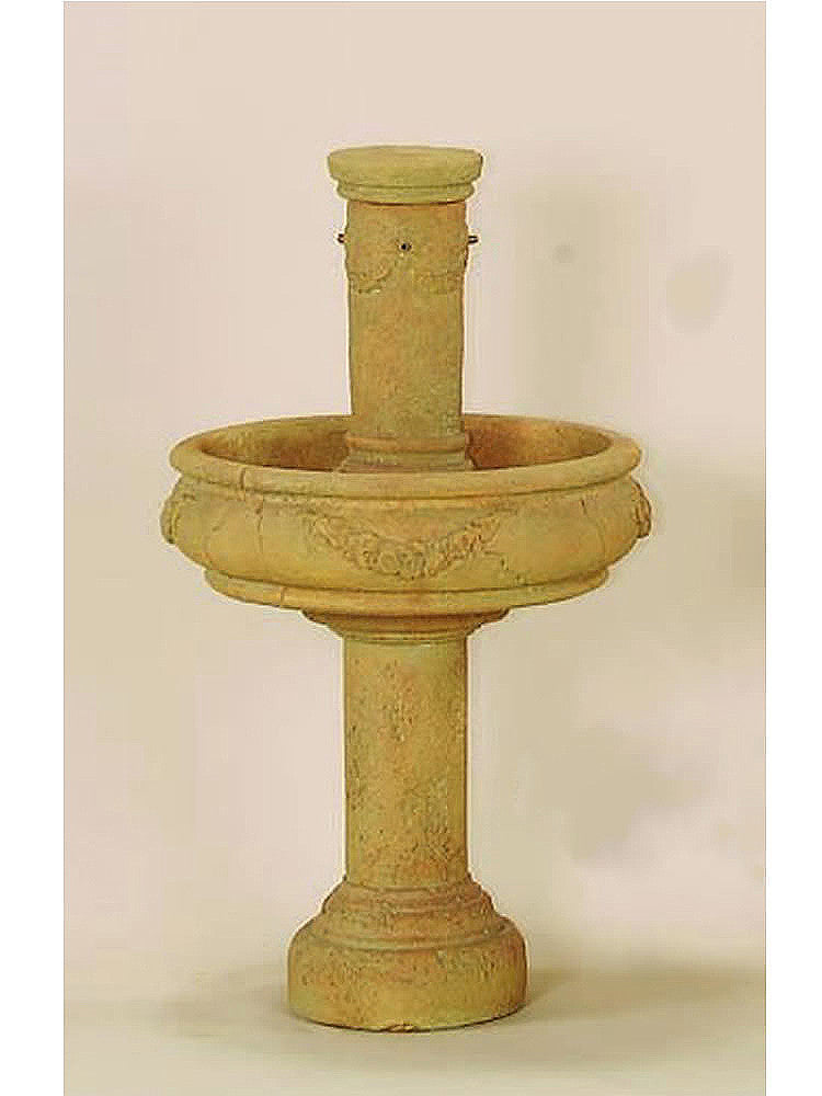 Rosa Column Outdoor Water Fountain with Tall Base - Soothing Walls