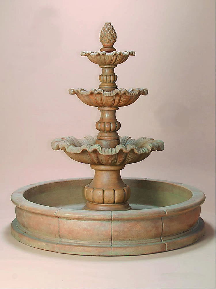 Garda Three Tier Pond Outdoor Water Fountain - Soothing Walls
