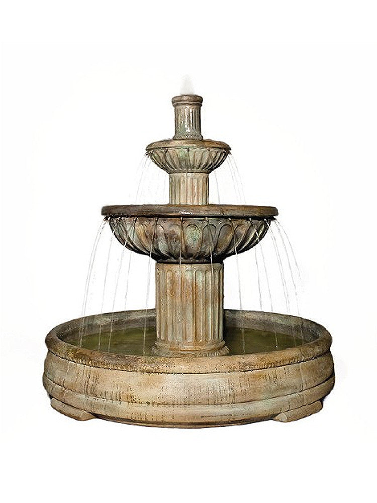 Fluted Outdoor Water Fountain in Grando Pool - Soothing Walls