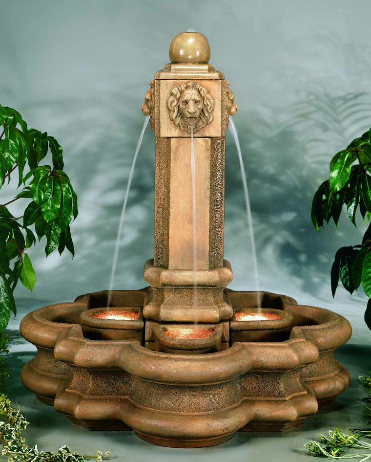 Classic Lion Pillar Cast Stone Outdoor Fountain - Soothing Walls