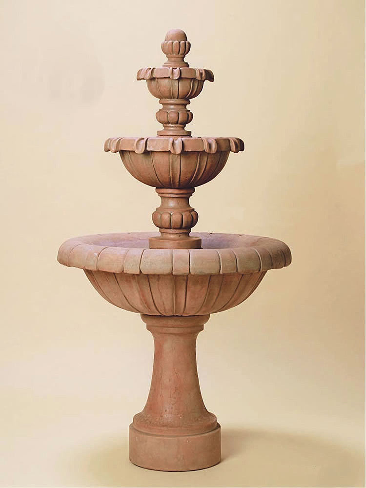 Jardin Three Tier Outdoor Water Fountain Tall - Soothing Walls
