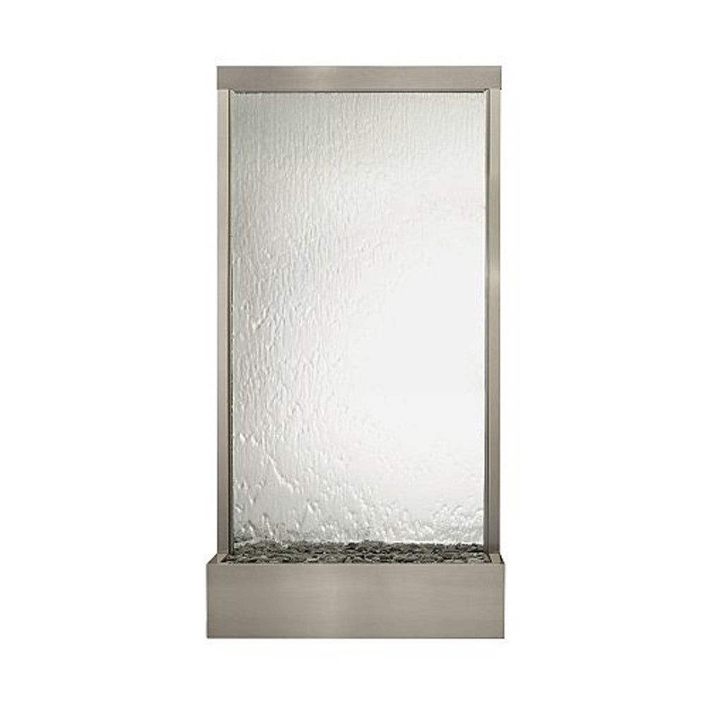 8' Grande Brushed Stainless Steel and Silver Mirror Floor Fountain - SoothingWalls