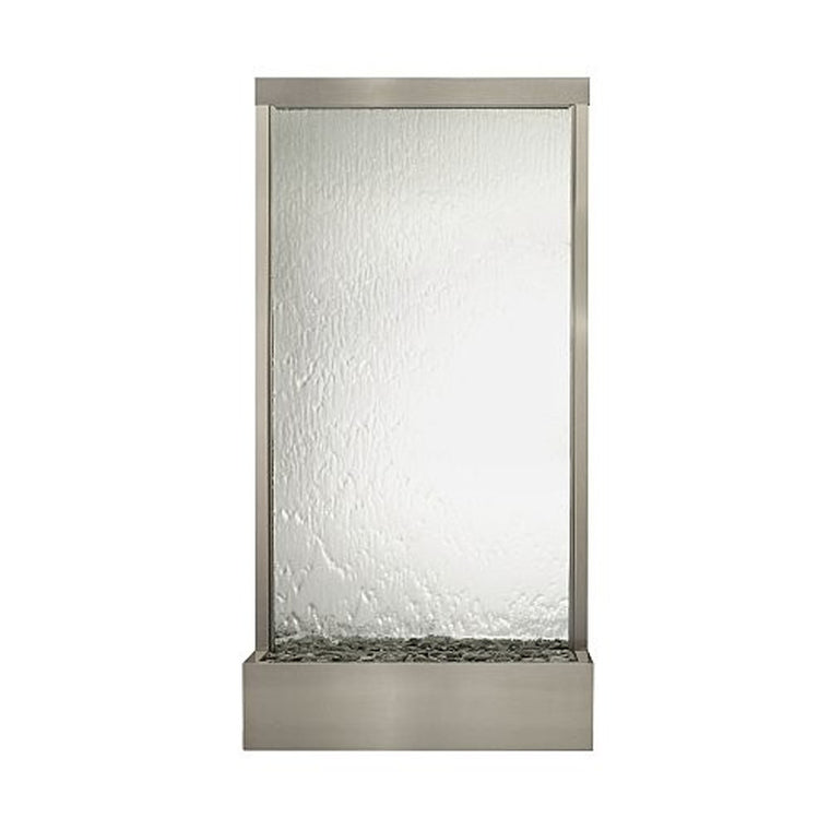 8' Grande Brushed Stainless Steel and Silver Mirror Floor Fountain - Soothing Walls