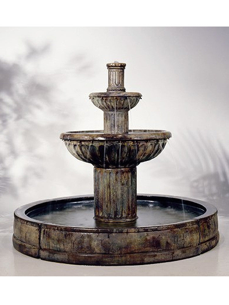 Fluted Garden Water Fountain in Valencia Pool - Soothing Walls