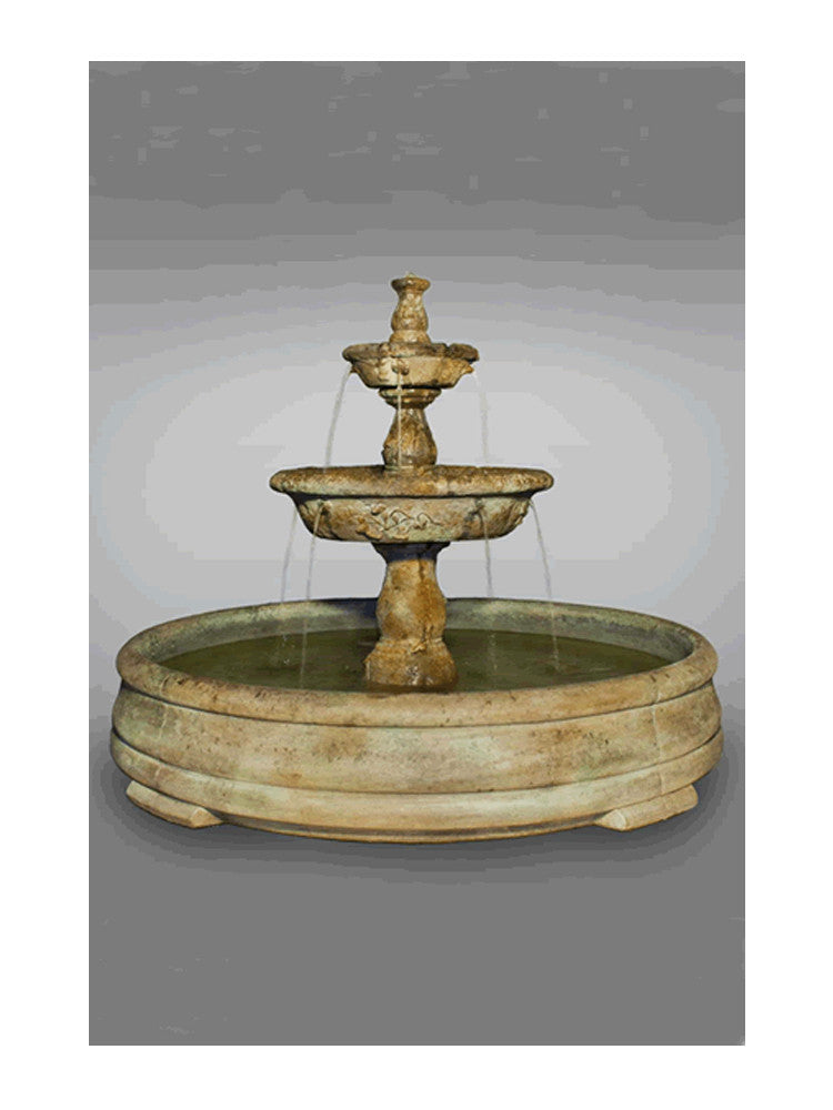 Tazza Tier Outdoor Water Fountain in Grando Pool - Soothing Walls