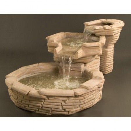 Flagstone Tiered Outdoor Water Fountain   Soothing Walls ...