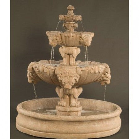 Lion Outdoor Water Fountain with 55 inch Basin - Soothing Walls