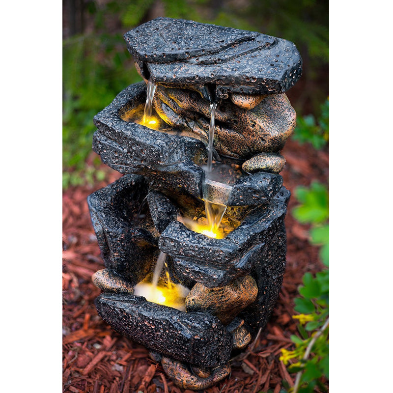 "20"" Lassen Stone Waterfall Rock Fountain with LED Lights - SoothingWalls"
