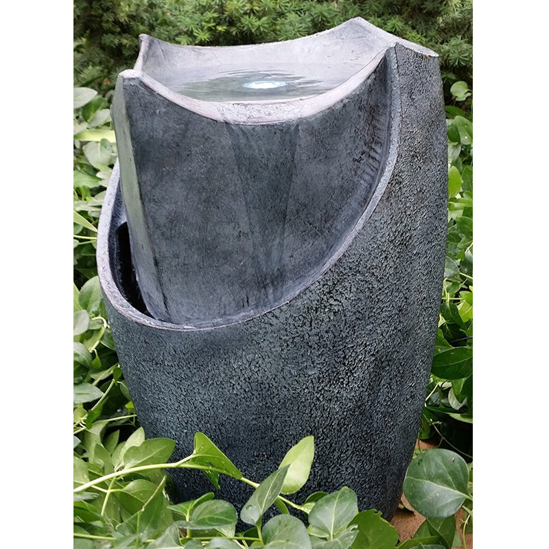 "20"" Modern Chiseled Stone Floor Vase Fountain with LED - SoothingWalls"