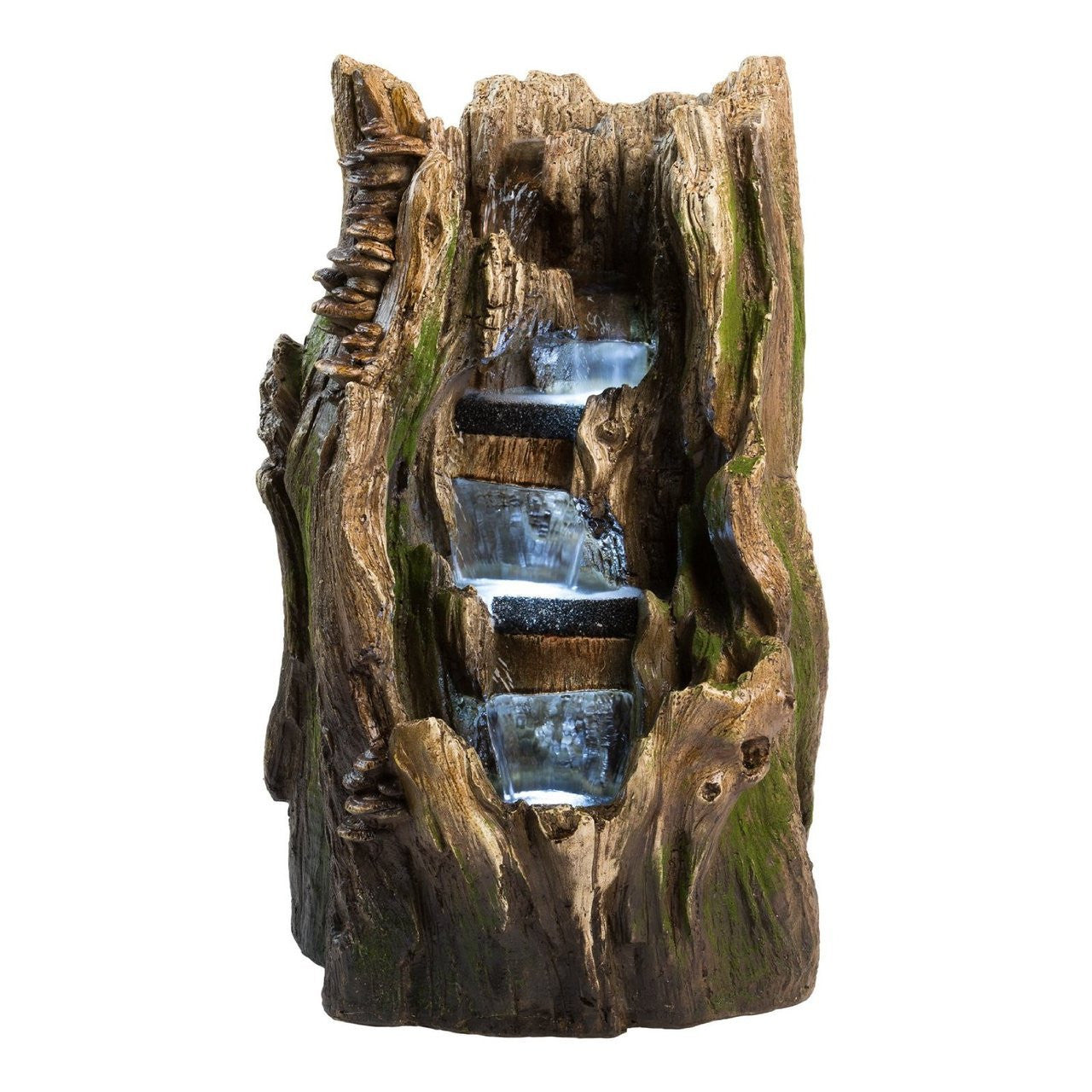 "22"" Cypress Log Outdoor Water Fountain with LED Lights - SoothingWalls"