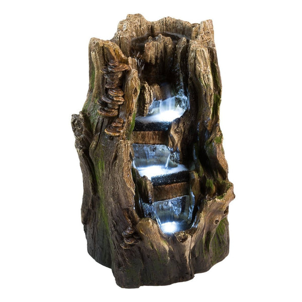 22 Quot Cypress Log Outdoor Water Fountain With Led Lights