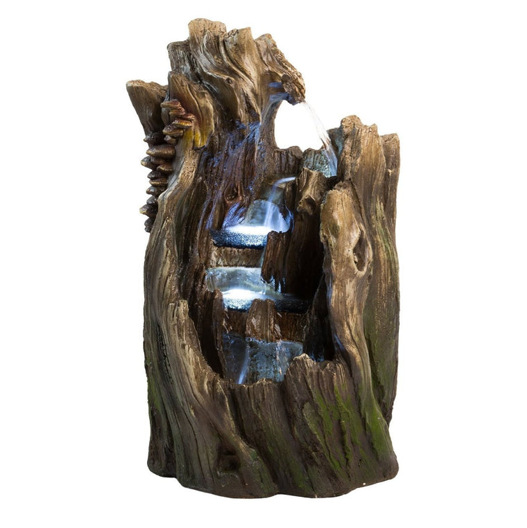 "22"" Walnut Log Outdoor Garden Fountain with LED Lights - SoothingWalls"
