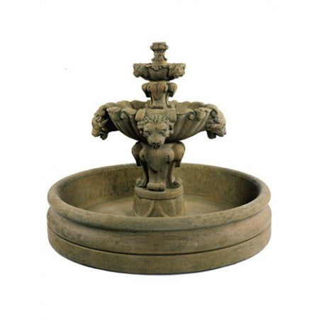 Lion Fountain with 46 inch Basin - Soothing Walls
