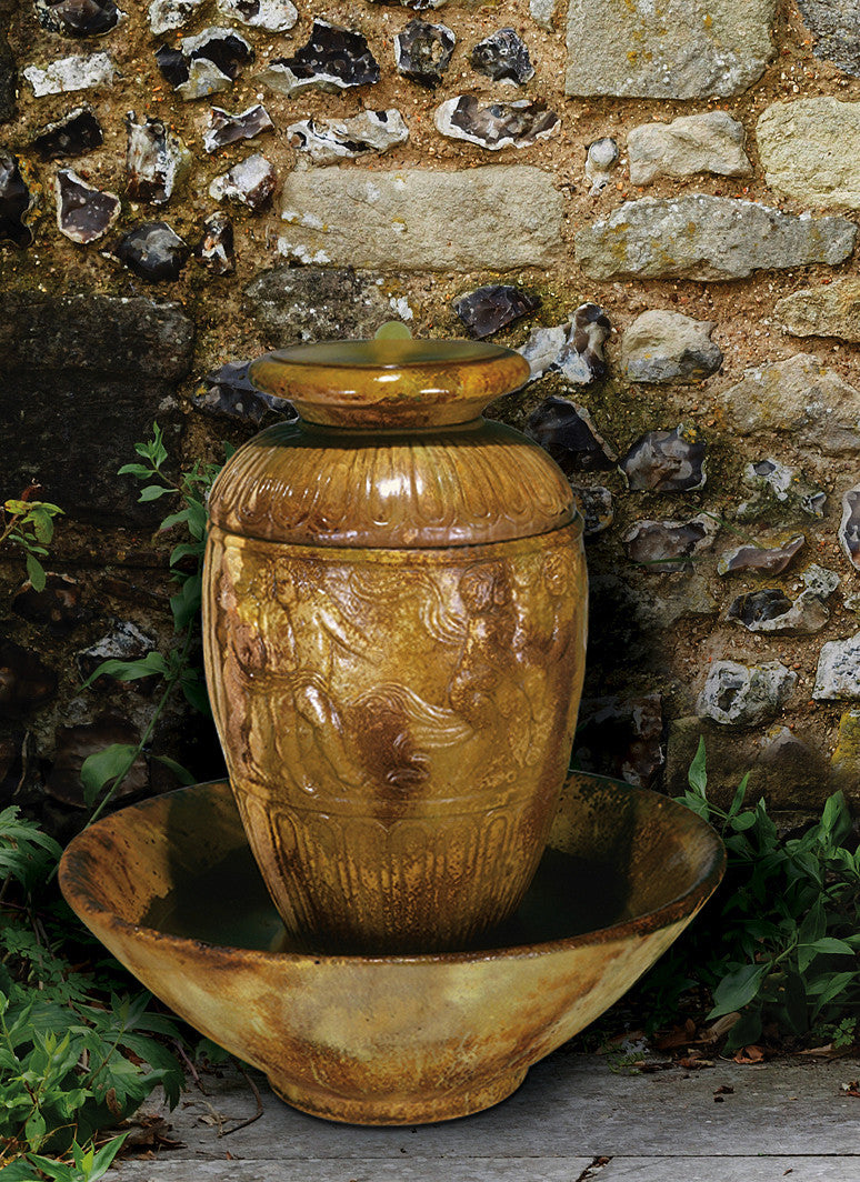 ... Roman Jar Outdoor Water Fountain   Soothing Walls ...
