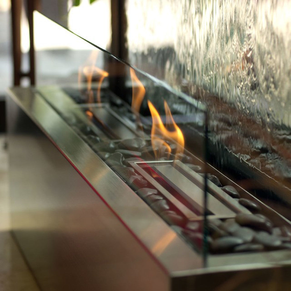 8' Grande Floor Fountain with Clear Glass, Stainless Steel and Fire Kit with 2 Ethanol Burners - Soothing Walls