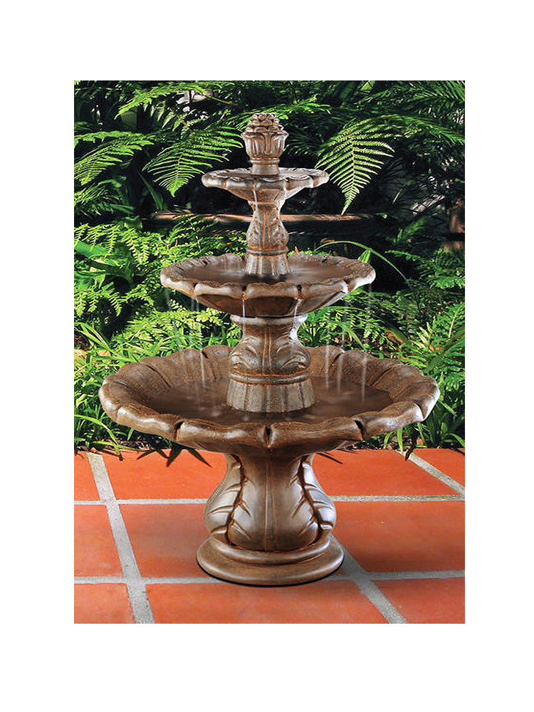Classical Finial Tiered Outdoor Water Fountain - SoothingWalls