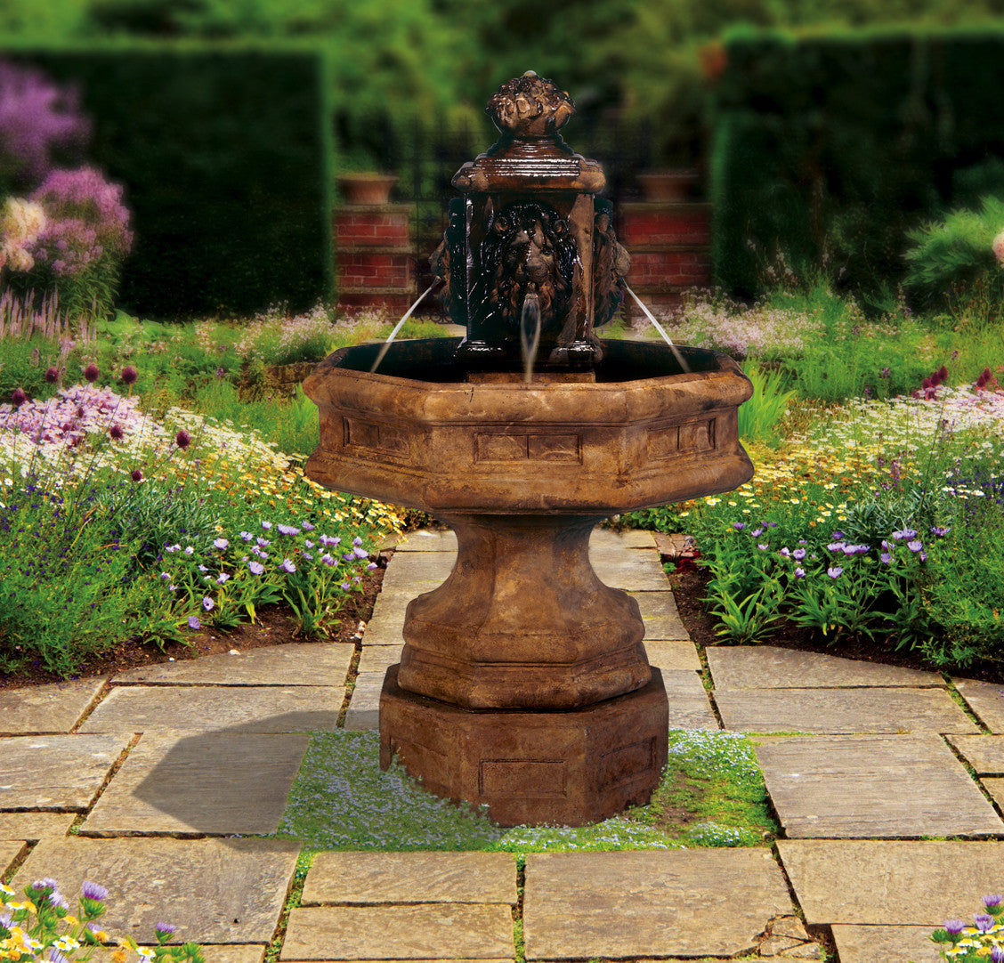 Classic Lion Cast Stone Outdoor Fountain - SoothingWalls
