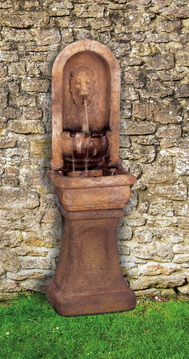 Tall Lion Alcove Fountain - Soothing Walls
