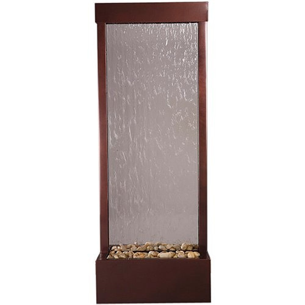4' Dark Copper Gardenfall w/ Clear Glass Floor Fountain - SoothingWalls