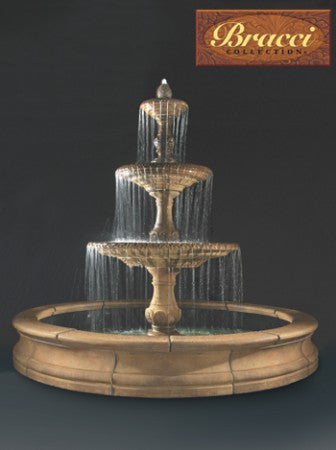 3-Tier Four Seasons Fountain with Bracci Basin - Soothing Walls